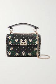 Valentino Garavani The Rockstud Spike medium appliquéd quilted leather shoulder bag