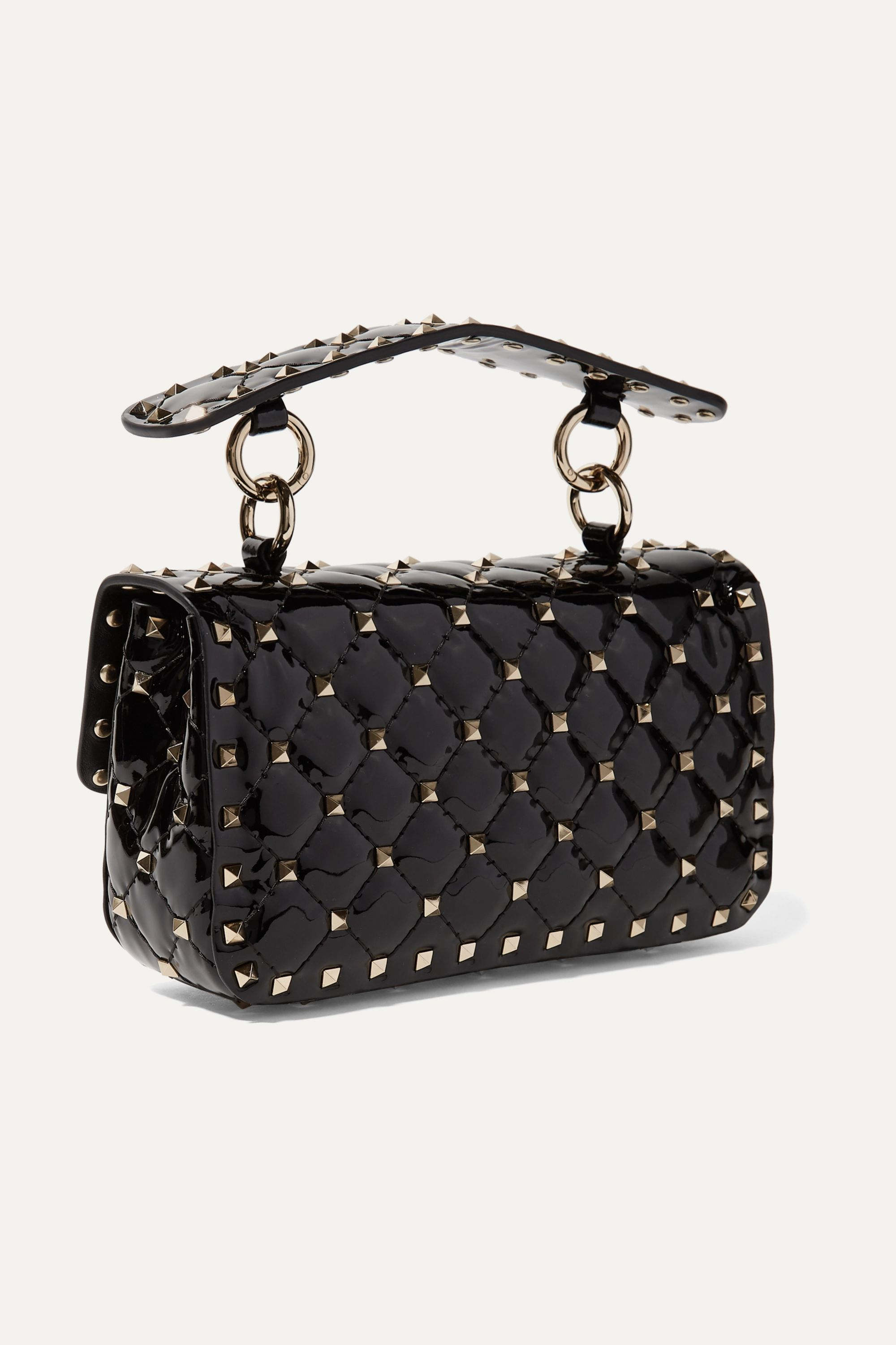 Valentino Valentino Garavani Rockstud Spike small quilted patent-leather shoulder bag