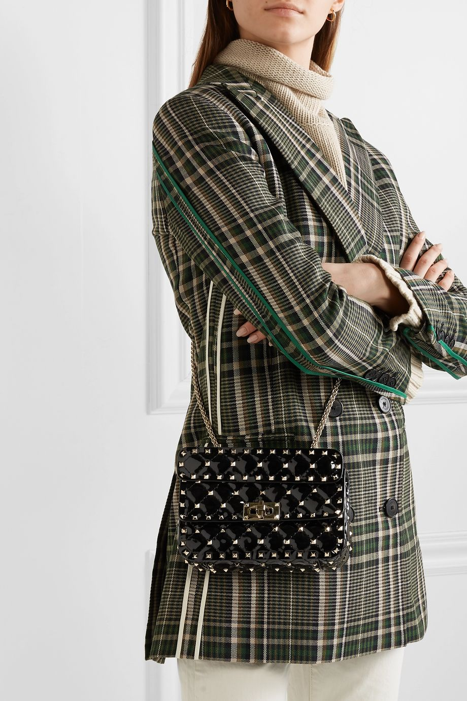 Valentino Valentino Garavani Rockstud Spike small quilted patent-leather shoulder bag