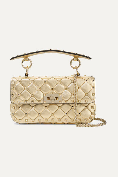 7abfcd017f133 Valentino. Valentino Garavani The Rockstud Spike small quilted metallic leather  shoulder bag