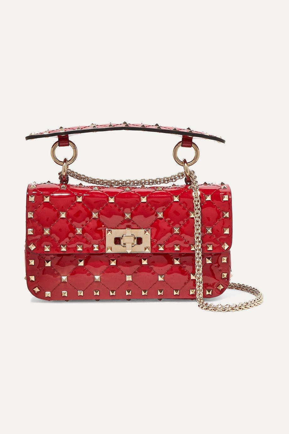 Valentino Valentino Garavani The Rockstud Spike small quilted patent-leather shoulder bag