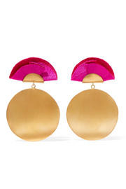 Full Moon gold-tone and silk earrings