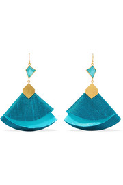 Twirl Drop gold-tone, silk and turquoise earrings