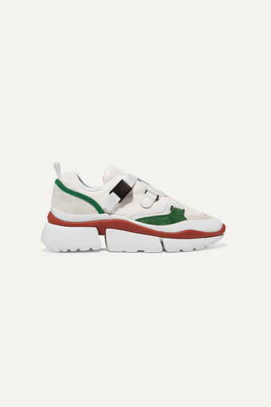 Chloe Sonnie Leather Velcro Strap Sneakers In White