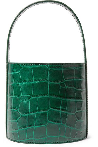 Bissett Croc Embossed Leather Bucket Bag - Green in Dark Green