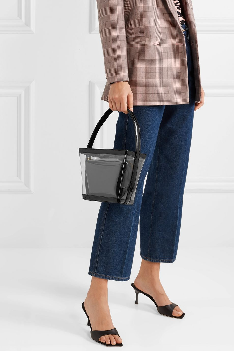 STAUD Edie PVC and patent-leather tote