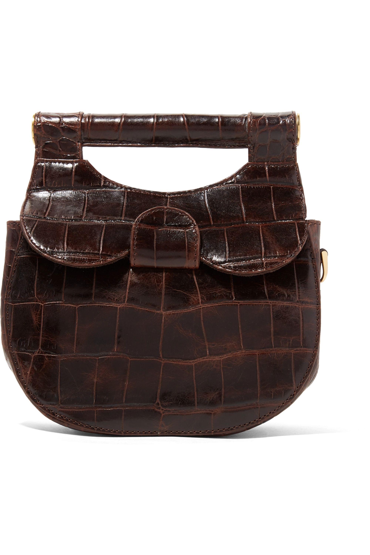 STAUD Madeline mini croc-effect leather shoulder bag