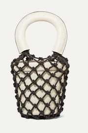 Moreau Mini macramé and leather bucket bag
