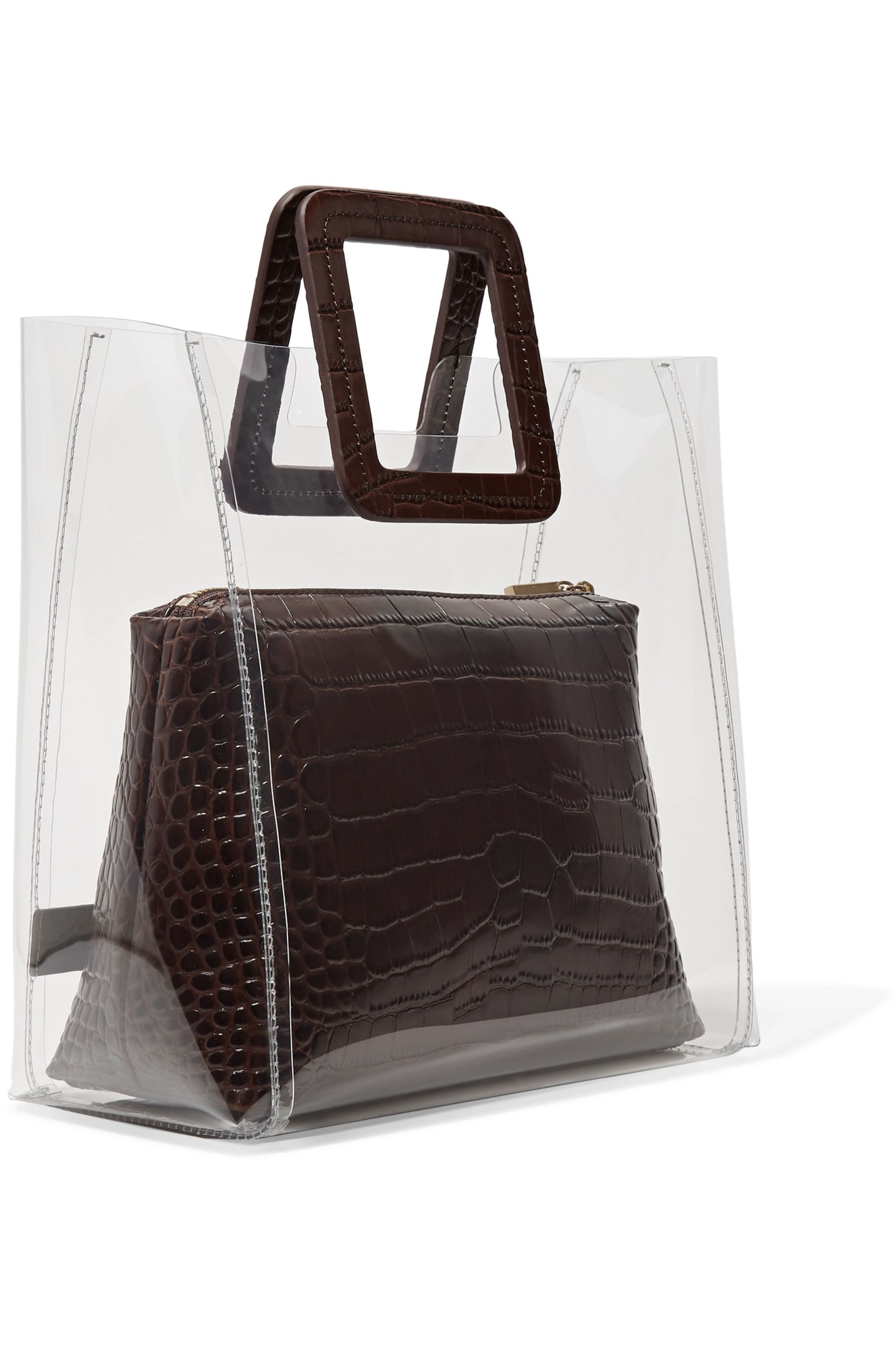 STAUD Shirley PVC and croc-effect leather tote