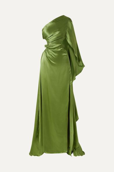 Cosette One Shoulder Cutout Silk Satin Gown by Cult Gaia