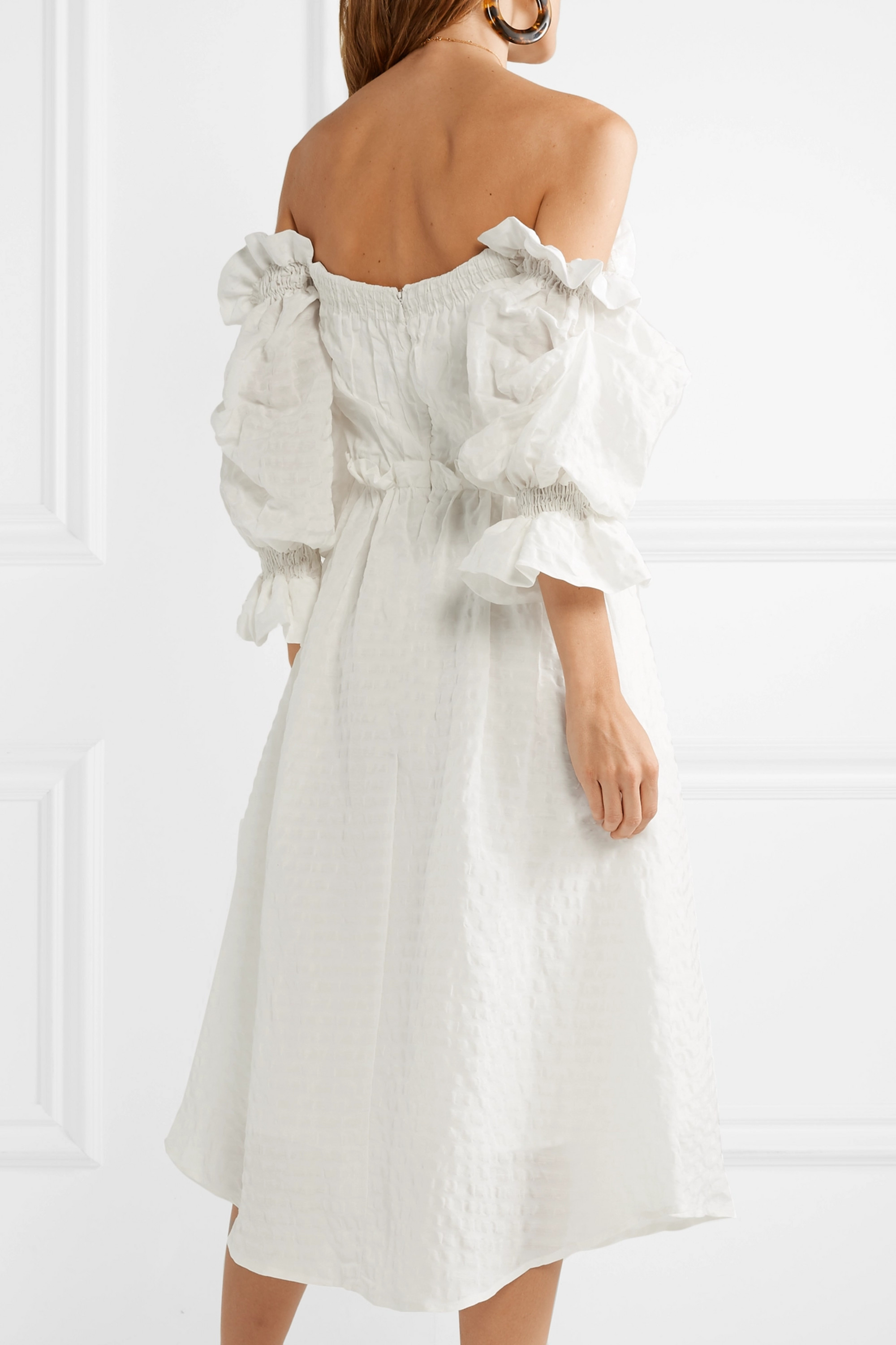 Cult Gaia Simona off-the-shoulder seersucker midi dress