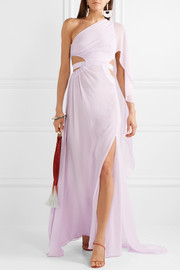Cosette one-shoulder cutout crinkled-chiffon gown