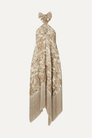 Ali fringed embroidered fil coupé canvas halterneck maxi dress
