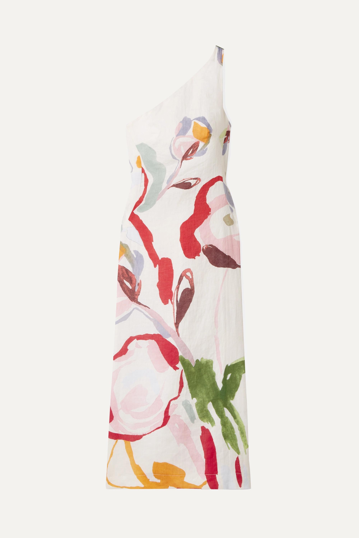 Cult Gaia Louise one-shoulder cutout floral-print linen midi dress