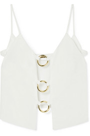 Odette cutout embellished linen top