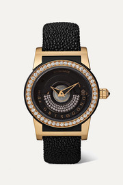 Tondo By Night S16 Automatic 43mm 18-karat pink gold, fiberglass, stingray and diamond watch