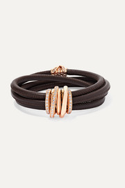 Allegra leather, 18-karat rose gold and diamond bracelet
