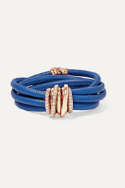 de GRISOGONO Allegra leather, 18-karat rose gold and diamond bracelet