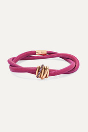 de GRISOGONO Allegra leather, 18-karat rose gold and sapphire bracelet