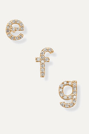 Alphabet 14-karat gold diamond earring