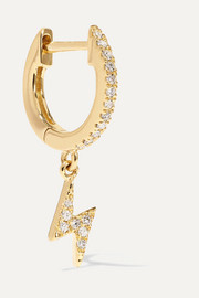 14-karat gold diamond hoop earring