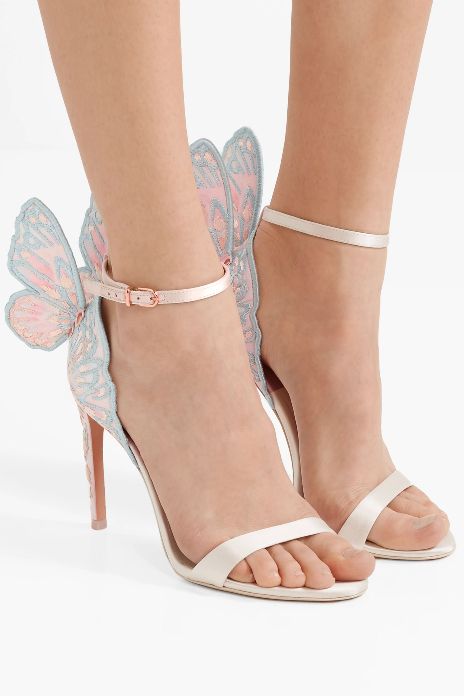 Ivory Chiara embroidered satin sandals