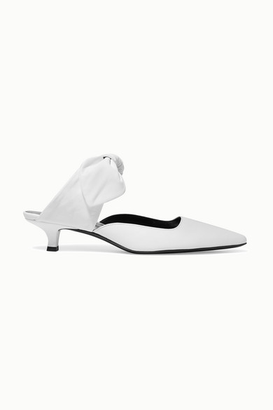 Coco Leather Mules - White Size 9.5 in Ivory
