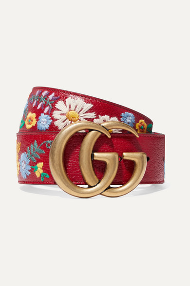 Gg Flower Embroidered Calfskin Leather Belt, 6073 Hib Red Multi/Hib Red