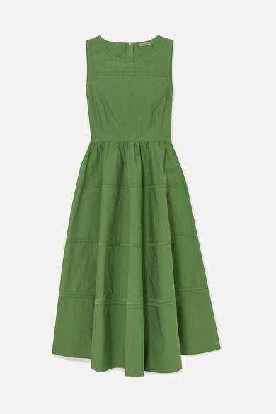 Paneled Cotton And Silk Blend Midi Dress by Bottega Veneta