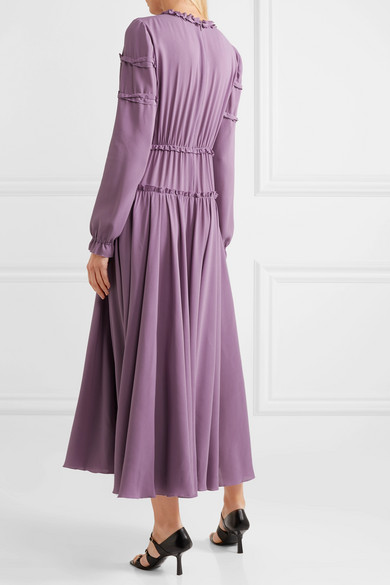Bottega Veneta Dress Ruffled gathered silk-crepe dress
