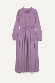 Bottega Veneta Ruffled gathered silk-crepe dress