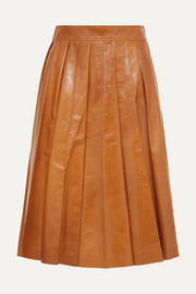 Pleated glossed-leather skirt