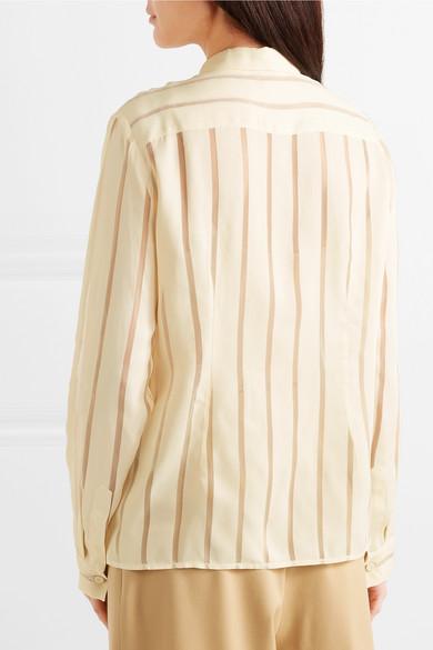 Bottega Veneta Tops Striped silk-blend chiffon blouse