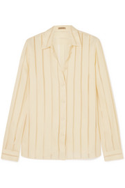 Striped silk-blend chiffon blouse