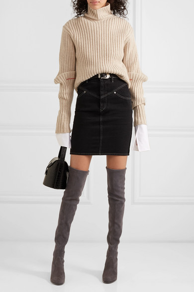 6e3a1ab8956 Stuart Weitzman. Tieland stretch-suede over-the-knee boots