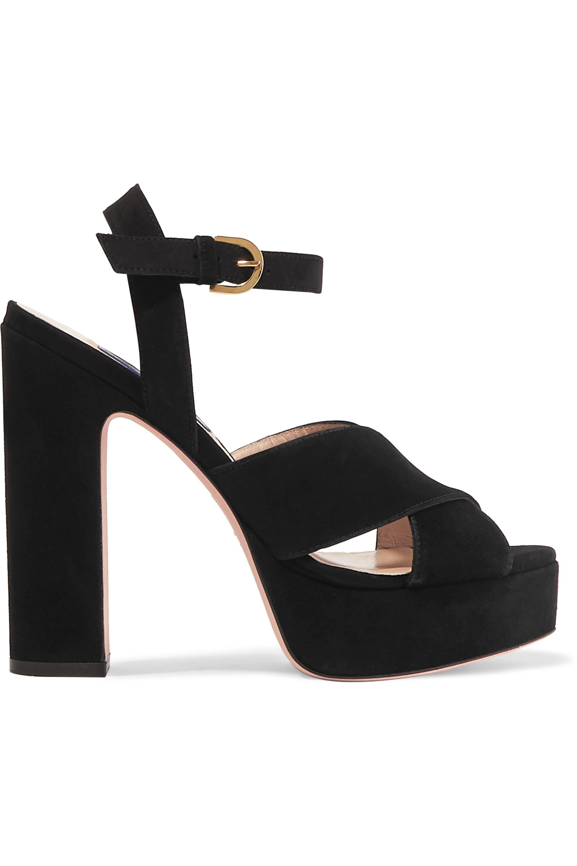 Black Joni suede platform sandals