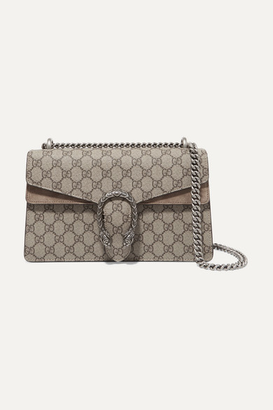 9704b66dd Gucci | Dionysus small printed coated-canvas and suede shoulder bag ...