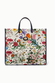 Gucci Flora large leather-trimmed floral-print canvas tote