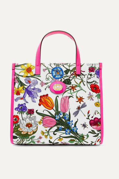 c5ad8c625c1 Gucci | Flora medium leather-trimmed printed canvas tote | NET-A ...
