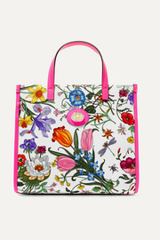 Flora medium leather-trimmed printed canvas tote