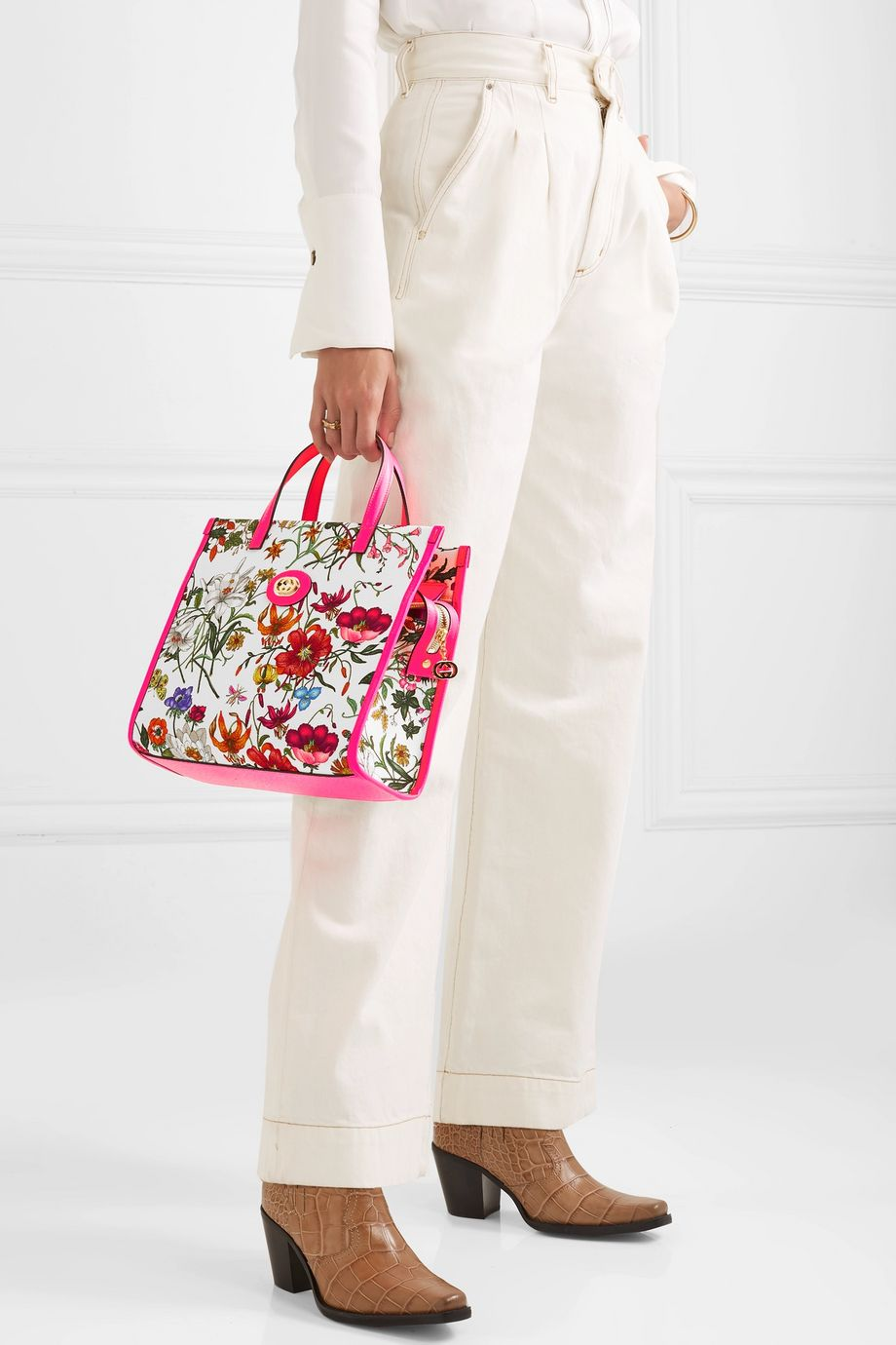 Gucci Flora medium leather-trimmed printed canvas tote