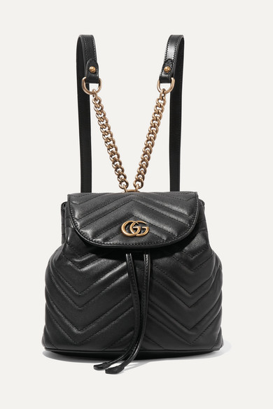 Gg Marmont 2.0 Matelassé Leather Mini Backpack in Black