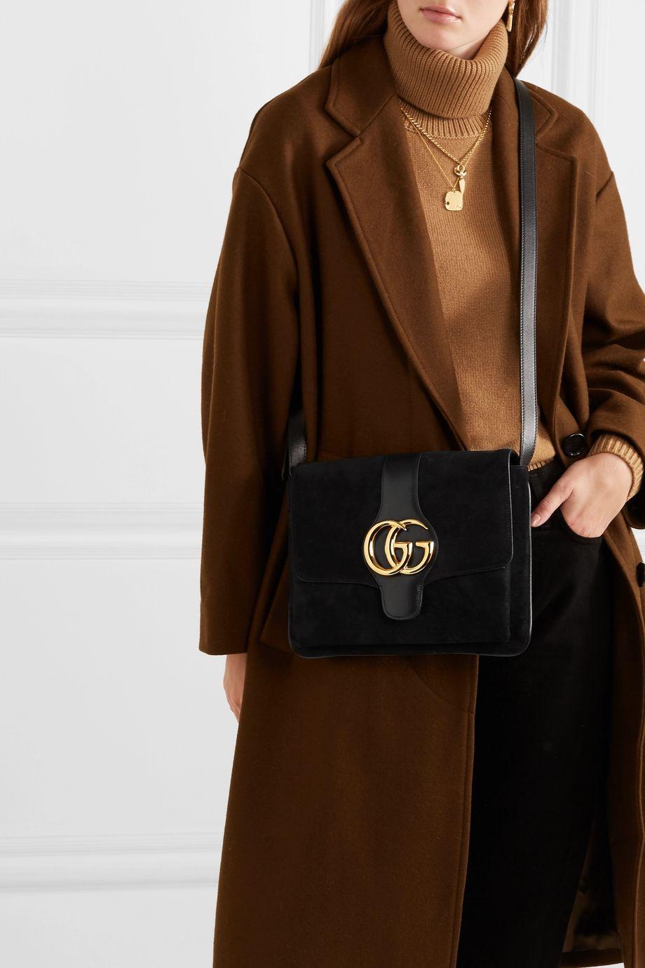 Gucci Arli medium leather-trimmed suede shoulder bag