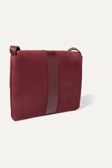 6b15566ec19 Arli medium leather-trimmed suede shoulder bag
