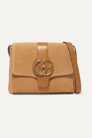 Gucci Arli medium leather-trimmed suede shoulder bag