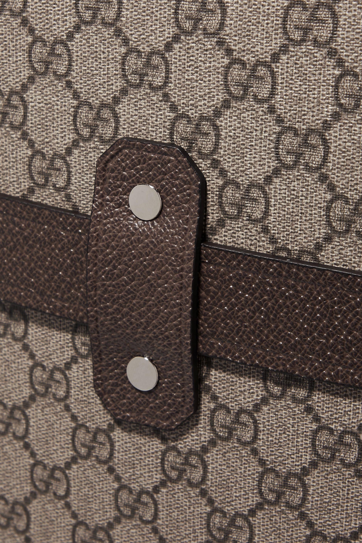Gucci x Globe-Trotter 皮革边饰印花涂层帆布行李箱
