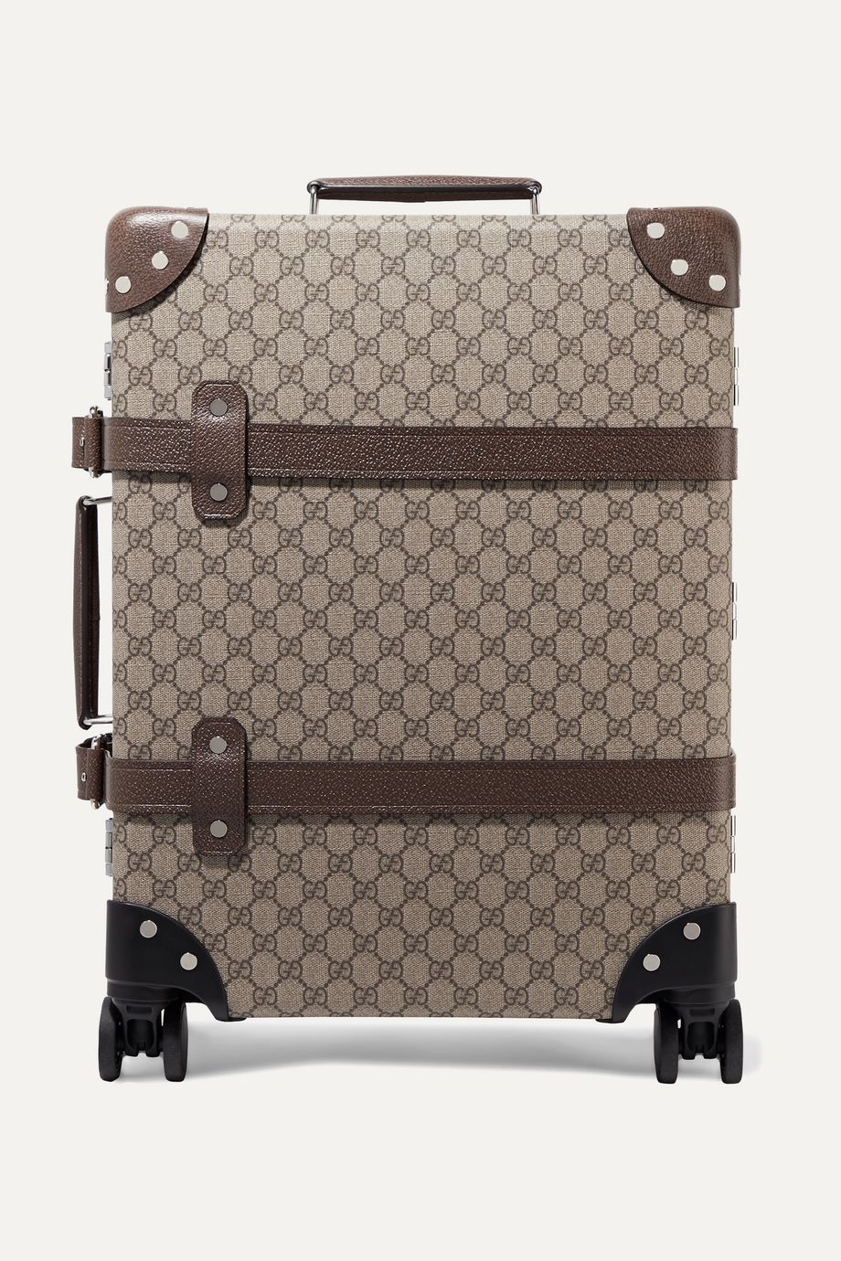 Gucci + Globe-Trotter leather-trimmed printed coated-canvas suitcase