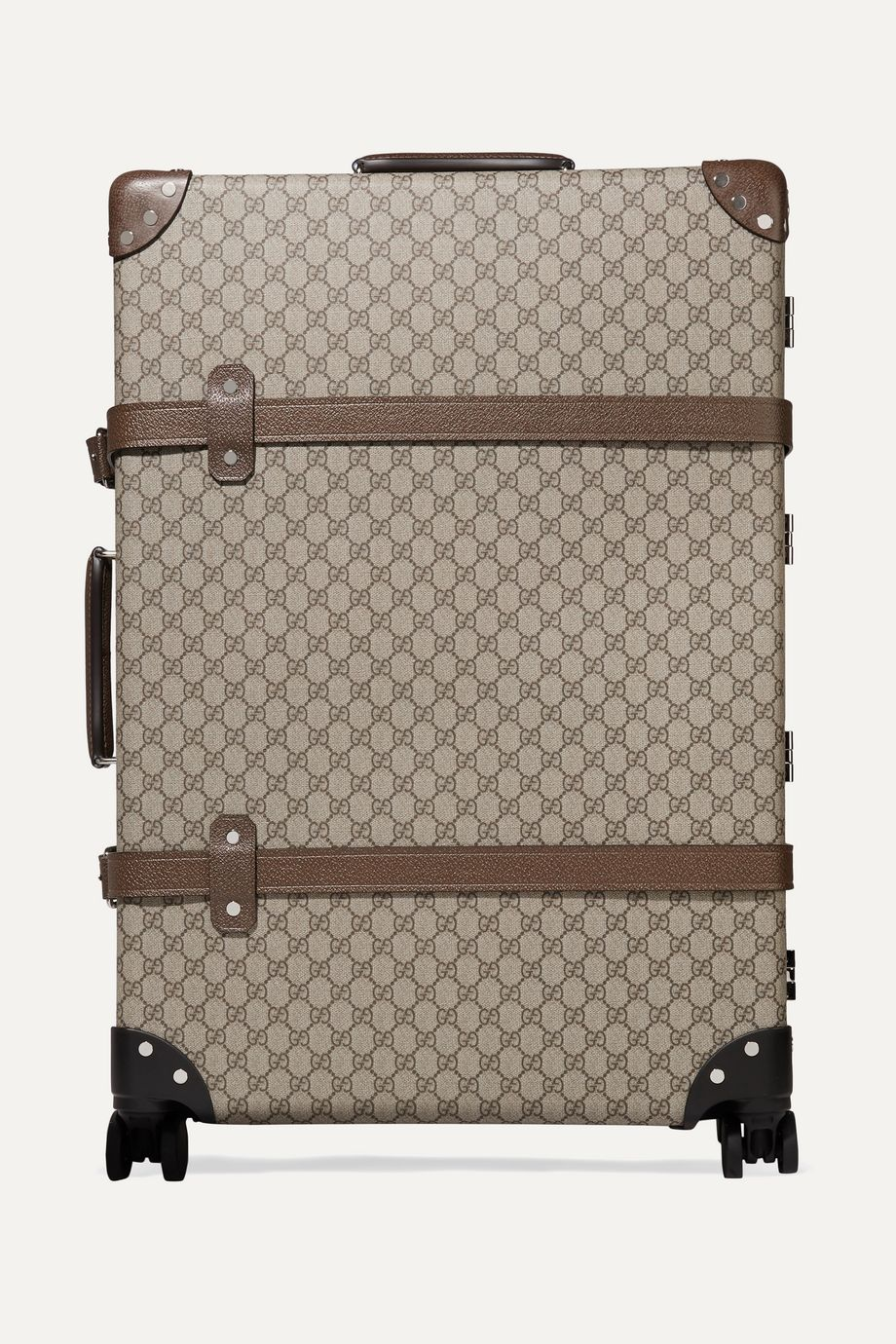 Gucci + Globe-Trotter large leather-trimmed printed coated-canvas suitcase