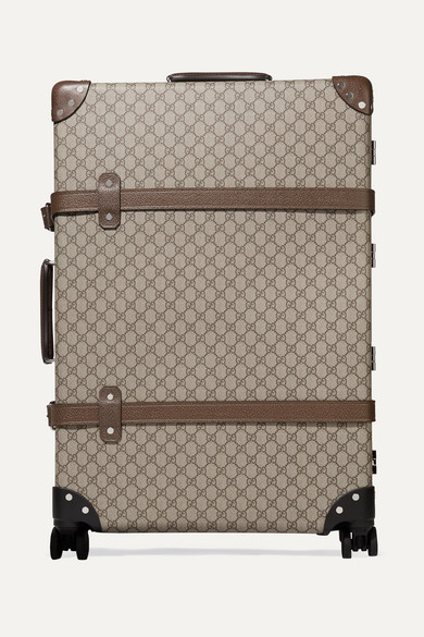 Gucci Travel + Globe-Trotter large leather-trimmed printed coated-canvas suitcase