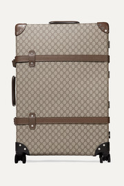 + Globe-Trotter large leather-trimmed printed coated-canvas suitcase